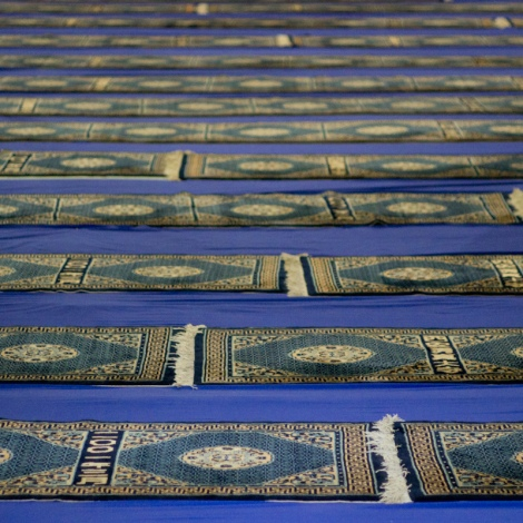 Prayer mats in the Great Mosque. The Great Mosque was founded in 742 and is China's oldest mosque.